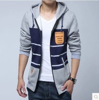 2015 new long sleeve mens sweater with hood ,Color matching