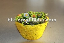 sisal round basket with eggs inside