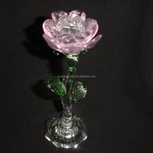 glass rose led light glass pink flower 110 mm