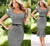 New latest dress designs fashion Tartan bodycon dress new evening midi dress