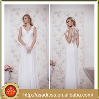 NA-14 Greek Goddess Style See Through Back Bridal Gowns 2015 Plus Size Full Length Simple Beach Wedding Dress for Wedding Party
