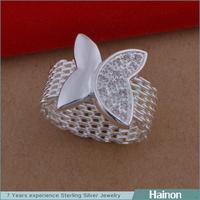 European Simple Micro Pave Butterfly Shaped Female Fashion Mesh Ring