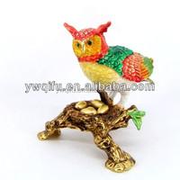 Wholesale Owl animal Shaped Crystal Rhinestone pewter Jewelry Boxes QF3430