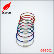 With coating colorful stainless steel wire lock keyring for name tag