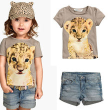 M60775A wholesale girl printed shirt and jean pants kid clothes