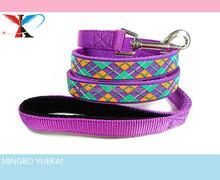 Purple Diamond Plaid Pattern PVC Nylon Webbing Mental Pet Leashes
