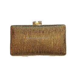 Stylish PU Leather Luxury Ladies Elegant Box Clutch Metallic Evening Bags