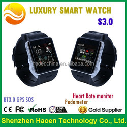 High Blood Pressure Alert Smart watch Pedometer Heart Rate Monitor Sleep control E fence GSM GPRS SOS Alarm Watch for Seniors