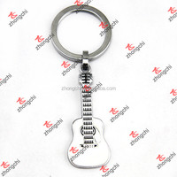 Silver Plain Guitar Keychain, Gift For Music Theme Party