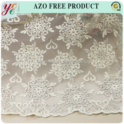 Hot sale cotton plain embroidery lace fabric with metallic yarn for evening dress