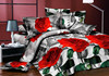 beautiful european design 3d flower double size textile fabric bed sheet