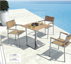 Teak root wood dining table set with stainless steel outdoor furniture