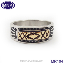 Mens western style wedding ring , stainless steel gold wedding finger ring