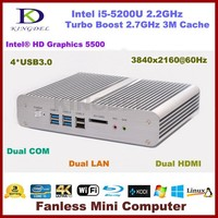 4GB RAM 128GB SSD Core i5 Fanless Mini Itx Industrial PC Metal Case with Intel i5-5200U Processor HTPC Dual Com NIC 2 Ethernet