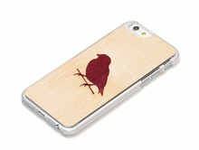Silver Red Bird printing natural wood phone case for Promotion
