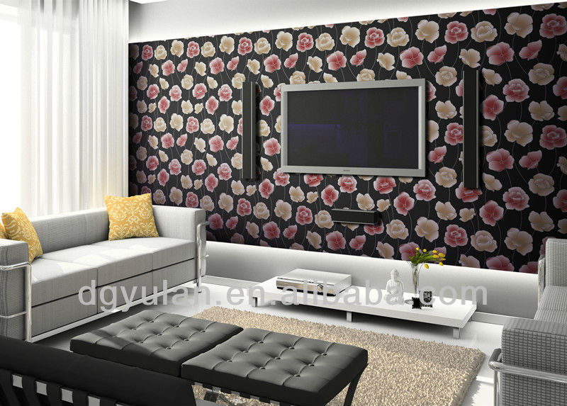 Modern floral design estilo europeo flocado pared de papel - Papel de pared moderno ...