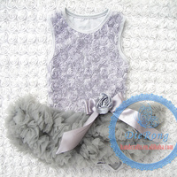 2015 new Korean style children clothing graduation dresses gray color and cotton lace with bow knot