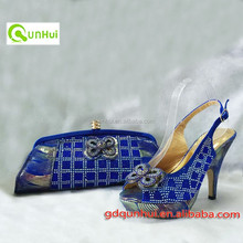 Popular design and hot-selling Italy matching shoe and bag set with Royal blue ,multi color available African shoe and bag set