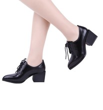 full grian leather pig leather inside women pumps high chuky heel pumps fashion office ladies shoes