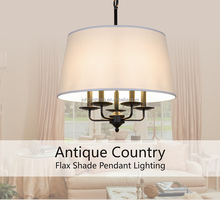 Antique Country Flax Shade Pendant Lighting