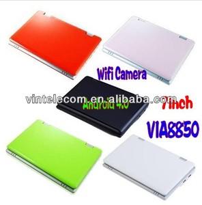 7 pulgadas mini ordenador portátil netbook wifi multi- color con android4.04 via88501.2ghz+512mb 4gb ram disco duro