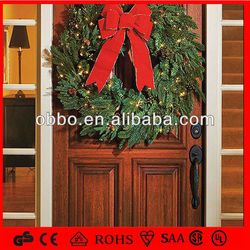 Door and garland decoratiion wreath with led lights and red bow