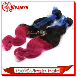 2014 hot selling beautifull colored two tone hair weave