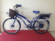Deep Blue 500w Brushless Motor 1:1 PAS Electric Bike Cruiser With LCD Display