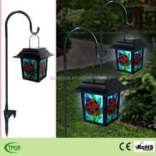 Decorative ladybug led animal palace lantern with iron stake solar light