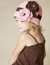 2014 Wholesale Baby Girls Cute Crochet Hat with Flowers