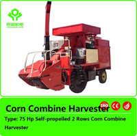 Self-propelled 2 Rows maize combine harvester/Mini corn harvester for sale