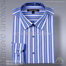 2015 mens lastest yarn dyed blue and white stripe dress shirt wholesale