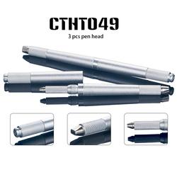 Permanent Tattoo Pen 3 Heads Lock Needle Device Microblading Manual Eyebrow Pen