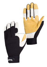 Superior Quality Safety yellow and white leather industrial mechanic glove