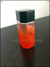 beautiful painted perfume glass bottle with plastic cap