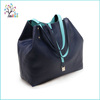 Custom brand fashion extra large two side pu leather shopping tote bag