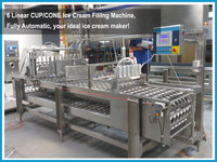 Turn key Ice Cream Production Line, Linear type ice cream cup filling sealing machine with date printer CE certificate factory