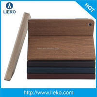 New design l fashion wood grooves leather case for Ipad mini
