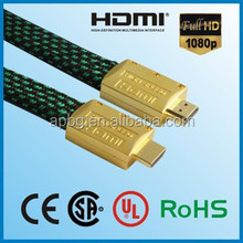 Flat HDMI Cable 10m with Ethernet nylon mesh supports 1080P, 3D, and Audio Return