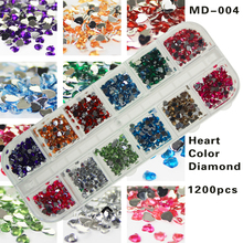 Heart shape color Rhinestones for beauty salon New Arrive Accessaries Nail Nail Supplies 12 items