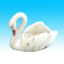 Hotsale Small ceramic swan planter figurine gold accents on wings