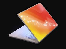 Golden Laptop Skin Decal with Colorful Pattern