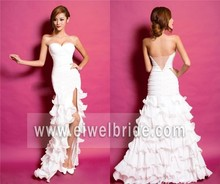 MK60 Lace Cap Sleeve Sheath Mermaid Court Train See Through Back Moroccan Wedding Dress
