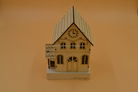 laser cutting wooden house decoration,LED lighted wooden decoraion