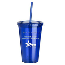 Plastic 16oz Double Wall Plastic Cups with Straw