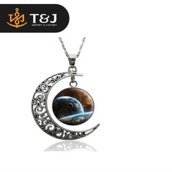 High quality New 2015 Fashion Starry sky Planet Silver Moon Pendant Necklaces Jewelry