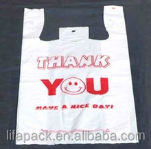 Plastic thank you T-shirt Shopping Bags with smile face