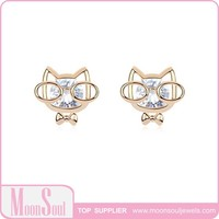Moonsoul wholesale Lovely Glasses Cat Shape Gold plating with AAA Cubic Zirconia Diamond Stud Earrings 15E10197