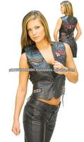 ladies biker vest is constructed of top quality soft cowhide leather