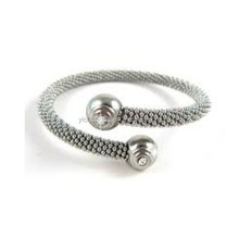Stainless Steel Cable Bangle with Crystals